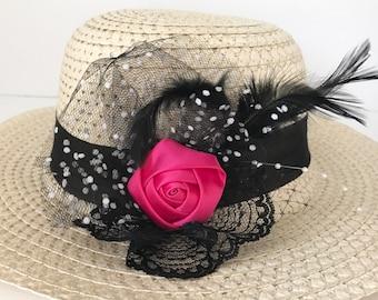 Adult/Teen Tea Party Hat, DERBY HAT, Sun Hat, Easter Hat, Wedding Hat