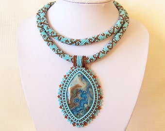 Statement Beadwork Bead Embroidery Pendant Necklace with Crazy Lace Agate - SKY Flower - sky blue and brown necklace - modern necklace