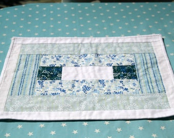 Table set, white, blue, cotton