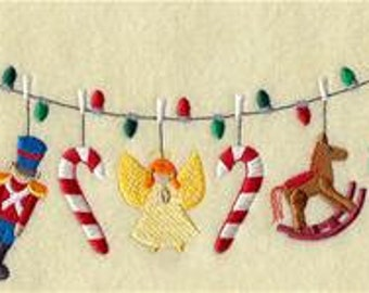 Christmas Toys Clothesline Embroidered Towel | Flour Sack Towel | | Dish Towel | Kitchen Towel | Hand Towel | Holiday Towel