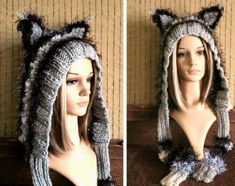 Cheshire Cat Hood, Womens Girls Chunky Wool Hat Fairy Tale Black Grey Fluffy Warm Winter Adults Hat With Braid And Ears And Wrap Scarf Tails