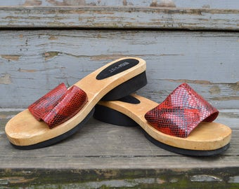 Vintage ESPRIT Snakeskin and Wood Slip on / Mules / Platform / Clog / Women's Sandals