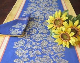 "Table Runner 65"" long by21"" wide, Cotton Jacquard Teflon. Fabric from Provence, France.Flowers in blue.Matching napkins available."