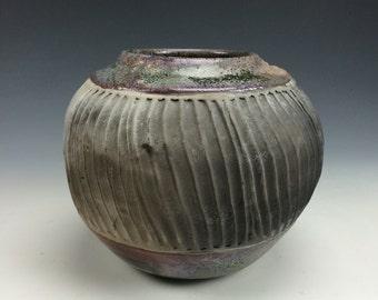 Deep Green, Purple Muted Pink and Black Raku Ceramic Vase, Modern Home Decor, Unique Carved Textured Clay, Southwestern Vessel