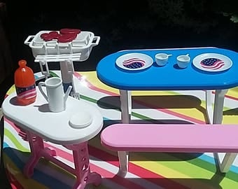 Vintage 1989 Barbie furniture bbq barbecue set 4th of july