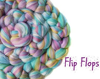 Blended roving - Merino - Tussah silk - 100g/3.5oz - bue - pink - FLIP FLOPS