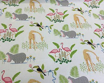 Wildlife Jungle Giraffe Hippo  Children's Blinds 100% Cotton Upholstery Curtain Fabric