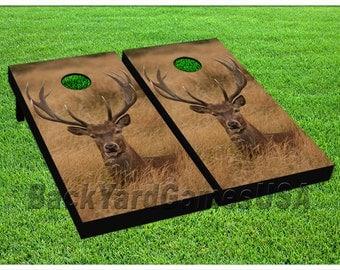 custom cornhole boards w bags deer laying in grass hunting corn hole beanbag game realtree set - Custom Corn Hole Boards