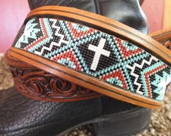Western Leather Inlay Beaded Belt
