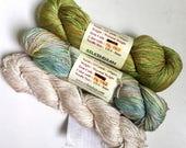 50% Off Lot Mulberry Silk Aleena Silk of Paradise DK Worsted Yarn 235 g 530 Yards Himalayan Silk Indian Green Blue Cream