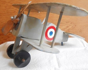 Vintage Handmade Model Airplane Biplane Folk Art Wood Craft Moving Parts Military Fighter Plane WWI French Nieuport Homemade Collectible Toy