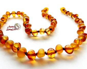 RAW (unpolished) and Polished Baltic Amber Necklace - Raw and Polish Cognac Amber Beads - Screw or Safety Clasp - Choose Your Length, K-33