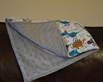 Dinosaur flannel and minky dot baby blanket