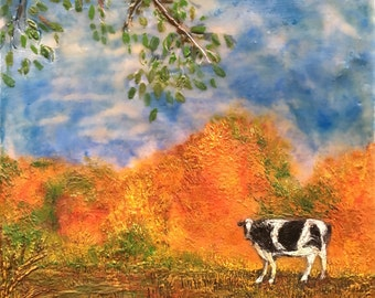 Cow in the Field 2, encaustic painting