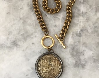 GOLD European Coin, Polish, Connector OR Pendant, Coin ONLY, Medieval, Necklace, Replica, Soldered