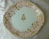 Limoges AKCD France Peach Pink Gold Oval Handled Cake Plate
