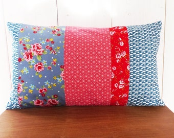 Cushion cover 50 x 30 cm patchwork of fabrics patterns flowers and stars asanohas tones, pink, blue, Red