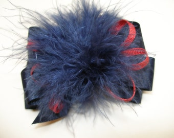 Princess Hair Bow Dark Navy Blue and Red Marabou Posh Diva Girl OTT Boutique Toddler School Uniform Casual Pageant Wear Pinch Clip
