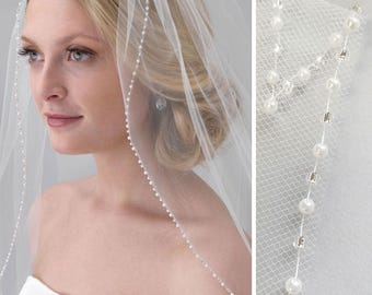 Pearl Bridal Veil, Beaded Wedding Veil, 1 Layer Veil, Ivory Veil, White Veil, Fingertip Veil, Elbow Veil, Veil for Bride, Comb Veil ~VB-5046