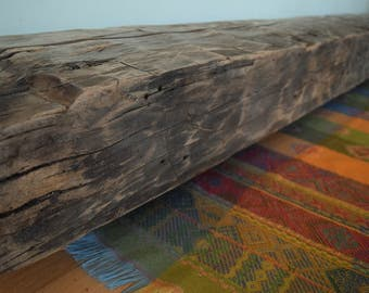 "Reclaimed Hand Hewn Fireplace Mantel 80"" x 8"" x 6"" Beech Mantle Shelf Barn Wood Beam Rustic Distressed Antique 1700s 1800s"