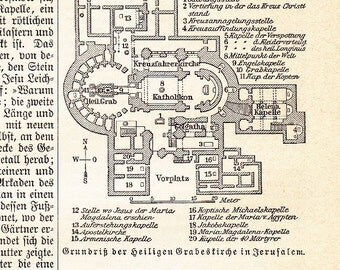 1895 Groundplan of the Church of the Holy Sepulchre in Jerusalem, also known as Church of the Resurrection Original Antique Map Print