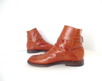 Brown Leather Ankle Boots, Mens Beetle Chelsea Boots, Strappy Ankle Boots,Size 9 EU 42, Maraolo, Made in Italy
