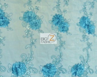 Cherry Blossom 3D Dress Lace Fabric - TURQUOISE - Sold By The Yard Prom Evening Dress Lace Decor Accessories Flowers