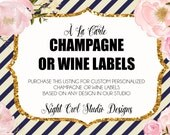 Champagne Labels, Wine Labels, Custom Personalized Champagne Labels, Custom Personalzied Wine Labels