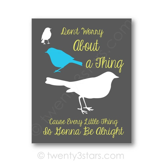 Bob Marley Three Little Birds Song Quote Canvas Or Art Print