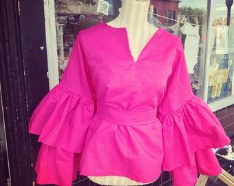 Pink Linen Ruffle Top w/ Sash