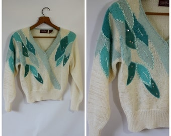 Vintage Sweater / Teal Leaf Sweater / 1980's Sweater / Womens Sweater / Cropped Sweater / Ginene Sweater S/M
