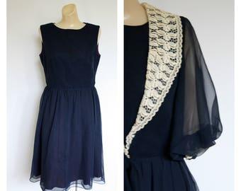 1960s Navy Blue Chiffon Dress Set / 1960's Cocktail Dress Duster Set / 60s Blue Party Dress  n Jacket/ Jack Bryan Dress S/M