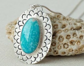 Compass Turquoise Handstamped Mermaid Scales Pendant - Turquoise Jewelry, Turquoise Necklace -Mermaid Jewelry Necklace Sterling Silver