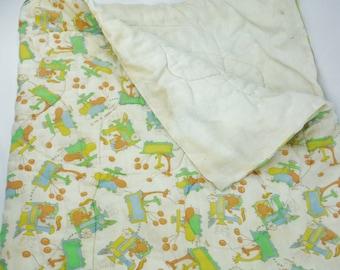 Vintage 1980 The Kendall Co baby toddler cartoon animal train sleeping bag