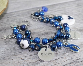 Personalized Stainless Steel Colon Cancer Bracelet | Colon Cancer Awareness Bracelet | Blue Awareness Bracelet | Colon Cancer Jewelry