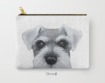 schnauzer grey&white Dog illustration design,  Shibainu, print on both sides, carry pouch
