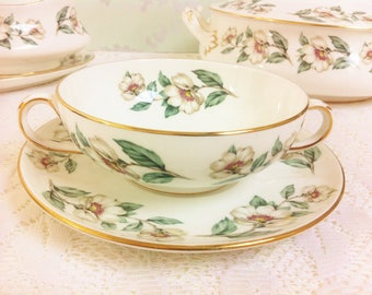 Christmas Rose Cream Soup Bowl with Saucer