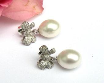 Bridal Earrings, Freshwater Pearl Tear Drop Earrings, Wedding Earrings, Ribbon bow , Wedding Jewelry, Ivory pearls, CZ accents