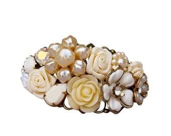 Vintage Bridal Bracelet, Wedding Corsage Bracelet, Bridal Corsage, Vintage Corsage Bracelet