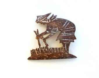 Vintage Carved Wood Pin Brooch Asian Field Worker Brown Hand Made Chinese Japanese Jewelry