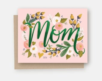 Mom - A2 Note Card - Card For Mom - Pink and Green - Flowers - Hand Lettering and Illustration By Valerie McKeehan