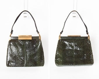 1940s Dyed Green Snake Skin Handbag with Attached Change Purse // NEVER USED!