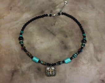 Southwestern necklace cross pendant turquoise fabric beads cowgirl rodeo bling