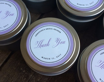 Wedding favor soy candle tin /Baby Shower/Party/ personalized candle favor 4 oz soy tins- choose your scent-candle wedding favors