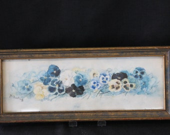 vintage signed M Keats framed watercolor painting pansy pansies