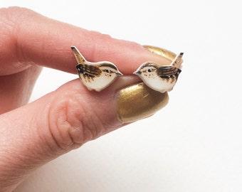 Hand painted Wren Bird Earrings. Hand drawn.