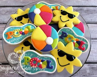 Pool Party Sun Beach Ball Cookies - 1 Dozen
