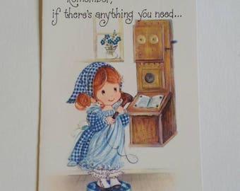 vintage greeting card- 1970s Eva Harta Norcross Gingham card