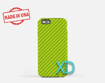 Pinstripe Phone Case, Pinstripe iPhone Case, Green Stripe iPhone 7 Case, Lime Green, Green Stripe iPhone 8 Case, Pin Tough Case, Clear Case