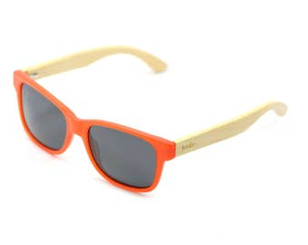 Handcrafted Bamboo Sunglasses, Coral Sunglasses, Free USA Shipping - Coral/Dark